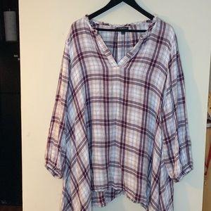 Lane Bryant long sleeve plaid blouse